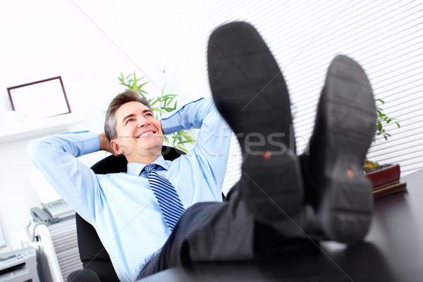 Сток-фото: расслабляющая · красивый · бизнесмен · современных · служба · бизнеса