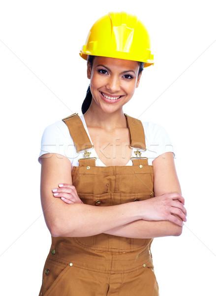 Zdjęcia stock: Pracownika · kobieta · młodych · uśmiechnięty · odizolowany · biały