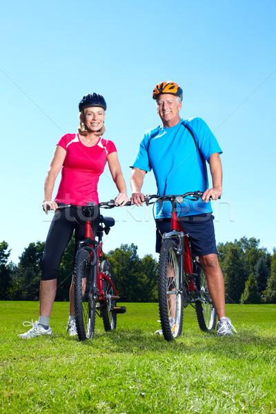 Mutlu bisikletçi adam spor Stok fotoğraf © Kurhan