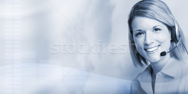 Stock photo: Call center operator woman.