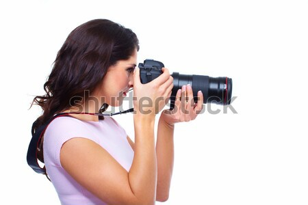 Woman with a photocamera. Stock photo © Kurhan