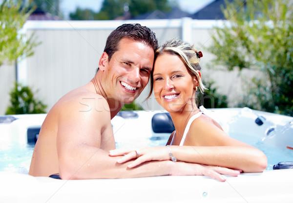 幸せ カップル ジャグジー リラックス 温水浴槽 休暇 ストックフォト © Kurhan