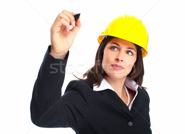 Ingeniero mujer escrito blanco construcción negocios Foto stock © Kurhan