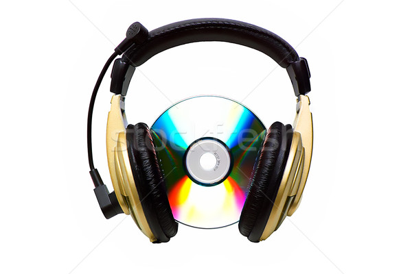 Cd and a golden headphone.  Stock photo © Kurhan
