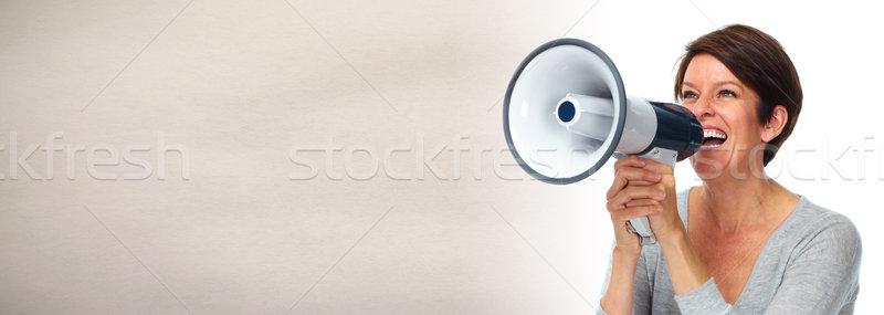 woman with megaphone Stock photo © Kurhan