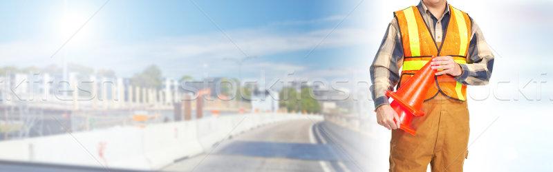 Yol yapımı işçi karayolu inşaat turuncu yelek Stok fotoğraf © Kurhan