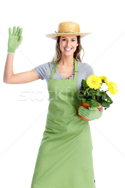 Jardinería mujer trabajadores flores aislado blanco Foto stock © Kurhan