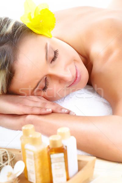 Stockfoto: Spa · massage · mooie · jonge · vrouw · ontspannen · vrouw