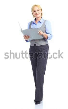 Souriant soubrette femme souriante femme isolé blanche Photo stock © Kurhan