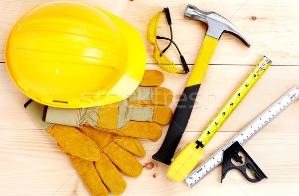Stock photo: Tools.  Hammer and ruler