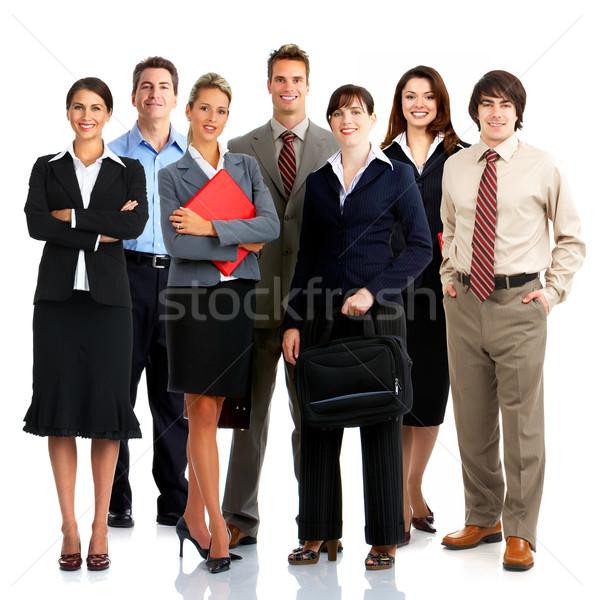 Stockfoto: Zakenlieden · jonge · glimlachend · geïsoleerd · witte · kantoor
