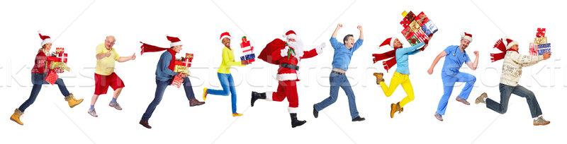 Foto stock: Feliz · corrida · natal · pessoas · isolado · branco