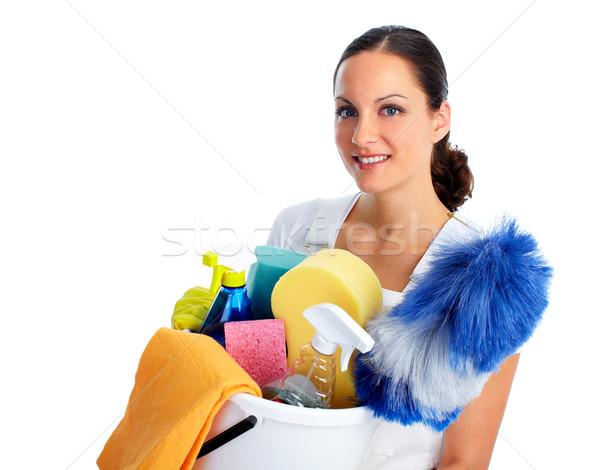 молодые красивой горничная женщину улыбаясь дома Сток-фото © Kurhan