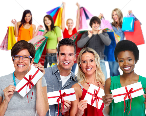 Group of customers with envelope gift. Stock photo © Kurhan