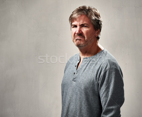 Nefret dolu adam öfke portre gri baba Stok fotoğraf © Kurhan