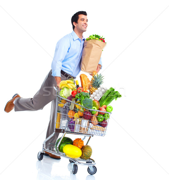 Stockfoto: Lopen · man · winkelwagen · geïsoleerd · witte · winkel