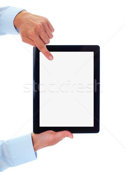 Stockfoto: Handen · geïsoleerd · witte · business · internet