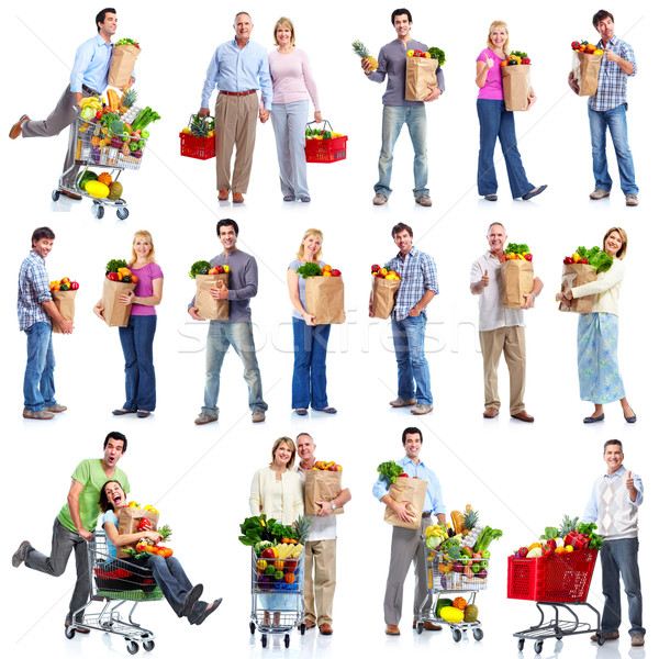 People with a grocery cart. Stock photo © Kurhan