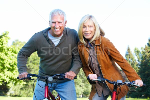 Mutlu bisikletçi sağlıklı uygunluk çift Stok fotoğraf © Kurhan