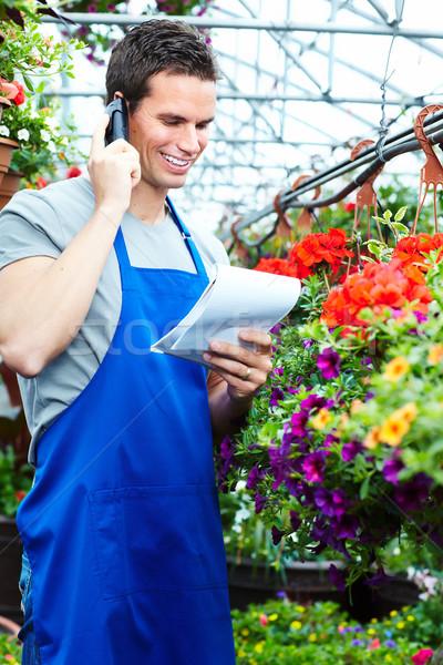 человека рабочих питомник люди, работающие садоводства весны Сток-фото © Kurhan