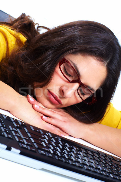 Business woman with laptop, computer. Stock photo © Kurhan