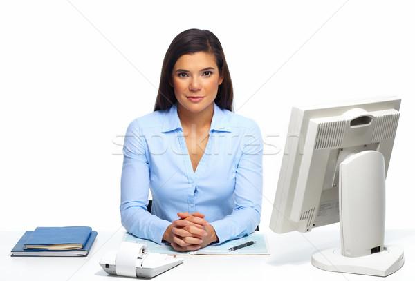 Stock fotó: Gyönyörű · üzletasszony · dolgozik · irat · iroda · üzlet