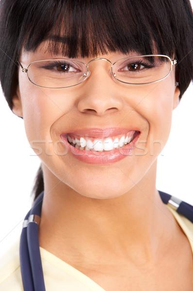医師 笑みを浮かべて 医療 眼鏡 孤立した 白 ストックフォト © Kurhan