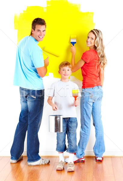 Rendbehoz fiatal család festmény belső fal Stock fotó © Kurhan