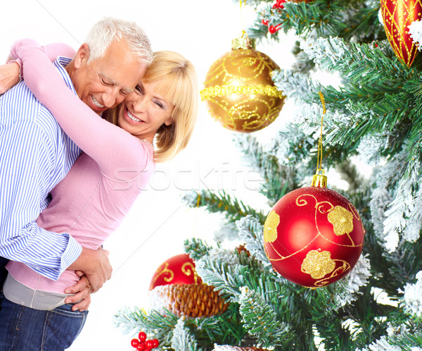 Christmas elderly couple Stock photo © Kurhan