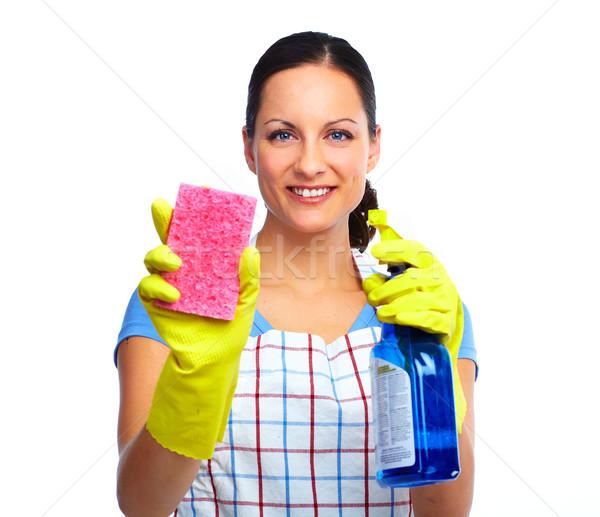 Hizmetçi kadın sünger sprey ev temizlik Stok fotoğraf © Kurhan