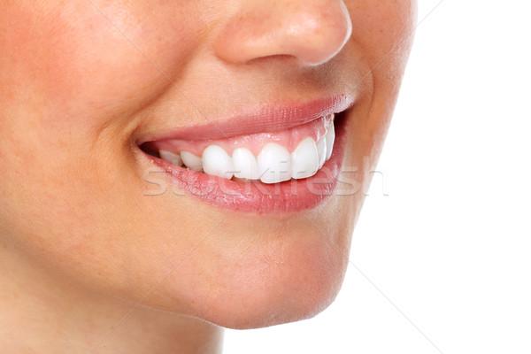 Foto stock: Mujer · hermosa · sonrisa · dientes · blancos · dentales · nina