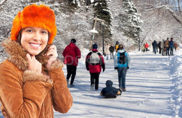 Young woman wearing winter coat. Stock photo © Kurhan