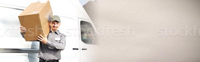 Lieferung Briefträger Feld professionelle Paket um Stock foto © Kurhan