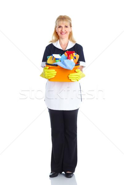 Szobalány nő mosolyog nő izolált fehér otthon Stock fotó © Kurhan