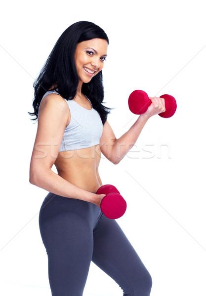 Fitnessz nő gyönyörű fiatal súlyzók izolált fehér Stock fotó © Kurhan