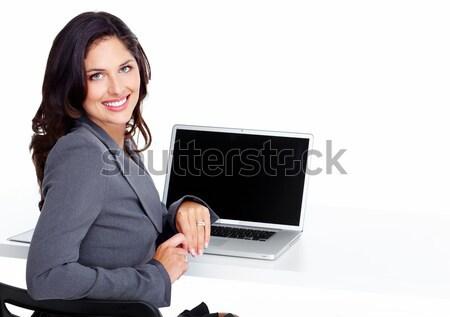 деловой женщины портативного компьютера изолированный белый женщину служба Сток-фото © Kurhan
