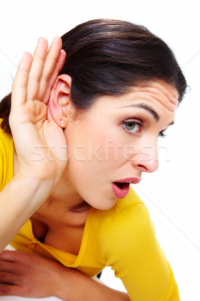 Girl listening what you say. Stock photo © Kurhan