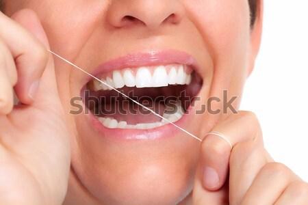 Stock fotó: Női · mosoly · mosoly · gyönyörű · fiatal · nő · izolált · fehér