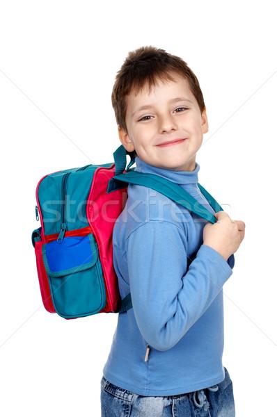 школьник улыбаясь изолированный белый счастливым студент Сток-фото © Kurhan