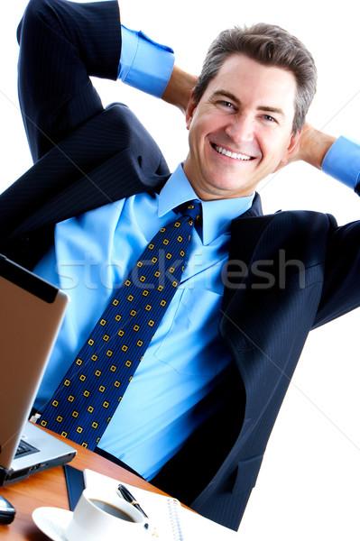Hombre de negocios de trabajo portátil blanco ordenador empresario Foto stock © Kurhan