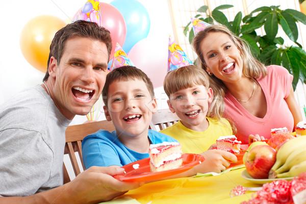 Stock photo: Happy family and birthday