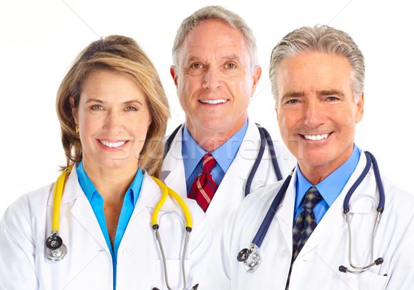 Foto stock: Médicos · sorridente · médico · estetoscópio · isolado · branco