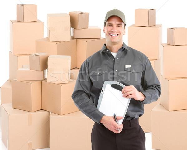 Consegna lavoratore scatole isolato bianco lavoro Foto d'archivio © Kurhan