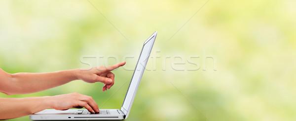 рук портативного компьютера деловой женщины женщину служба интернет Сток-фото © Kurhan
