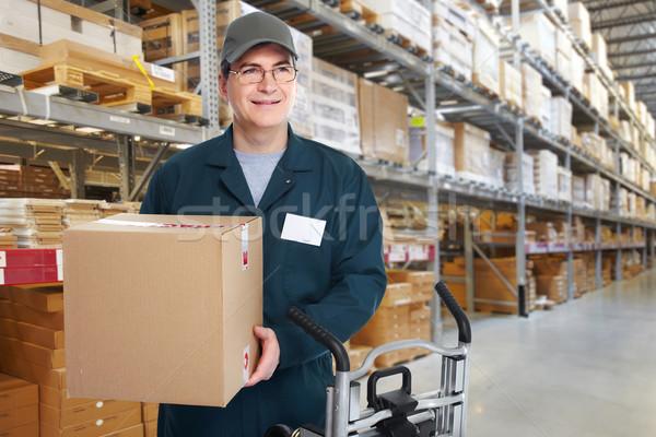 Lieferung Briefträger Feld hat Mann LKW Stock foto © Kurhan