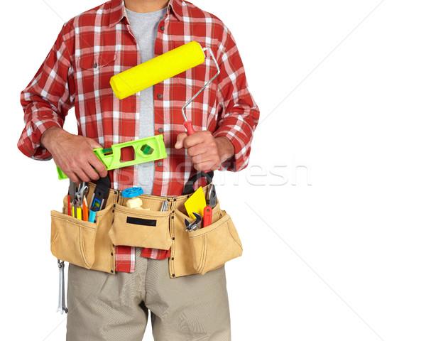 Stock fotó: építész · ezermester · festék · építkezés · szerszámok · izolált