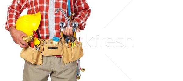 配管 手 ヘルメット 給水栓 白 男 ストックフォト © Kurhan