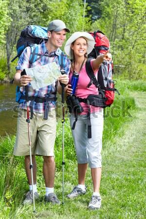 Yürüyüş insanlar harita park Stok fotoğraf © Kurhan