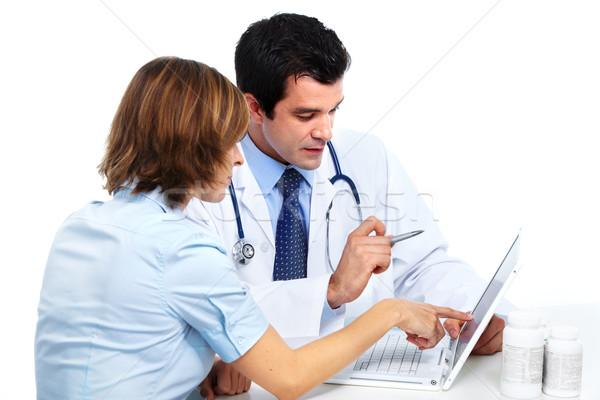 Stok fotoğraf: Tıbbi · doktor · hasta · gülen · kadın · eczane
