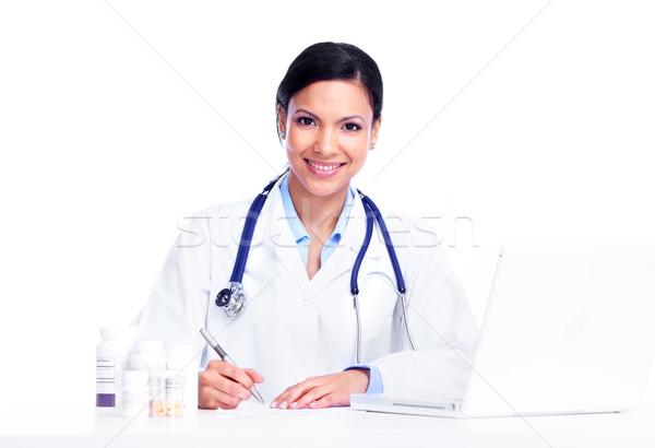 Stok fotoğraf: Doktor · kadın · yalıtılmış · beyaz · iş · çalışmak